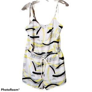 Guess multi colour print romper with tie waist